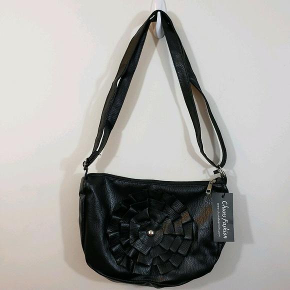 Women Handbag Shoulder Bag Black with flower M NWT
